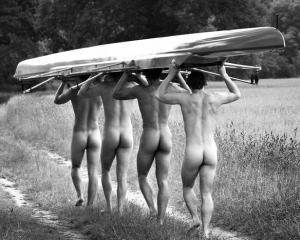 The Eton rowing team, after the match.