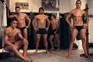 Men who SHOULD be naked in locker room and so, of course, are NOT!