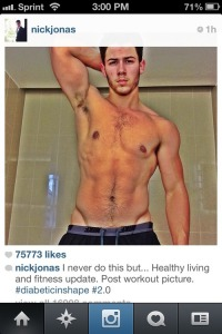 Nick Jonas' post workout Tweet-pic