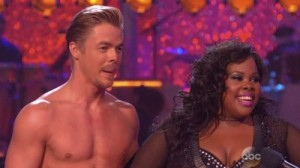 My stalker, Derek Hough - he just will NOT stop writing about me - and his partner, champion Amber Riley! So exciting.