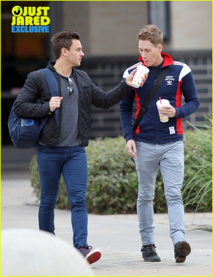 Tom Daley and Lance Black; exclusive to Just Jared, Cosmo/Fame Flynet Pictures