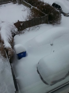 The view from the master bath of my car around 10a.m. Mine is closest to the camera, there is another beside it, a regular car completely buried by the snow.