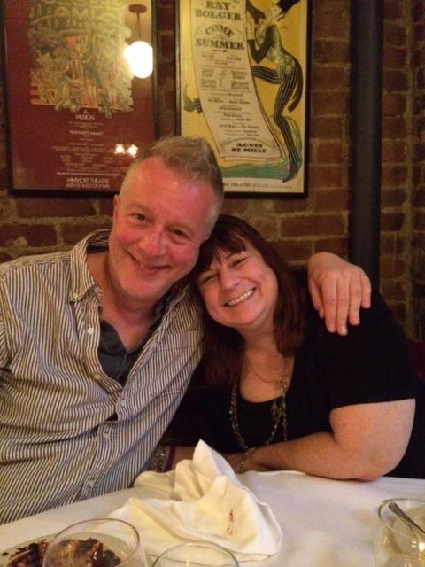 Andrea and Charlie SMILING at Joe Allens
