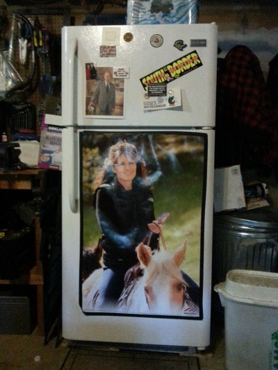 Poster seen on refrigerator in man-cave/garage of house where I am sitting. Yes, that IS indeed Sarah Palin and George W and the Reagans